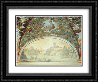 Landscape with Boats on a River 24x20 Black or Gold Ornate Framed and Double Matted Art Print by Paul Bril
