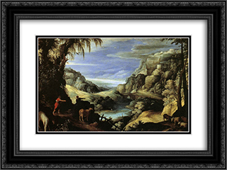 Landscape with Mercury and Argus 24x18 Black or Gold Ornate Framed and Double Matted Art Print by Paul Bril