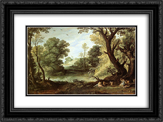 Landscape with Nymphs and Satyrs 24x18 Black or Gold Ornate Framed and Double Matted Art Print by Paul Bril