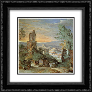 Landscape with Roman Ruins 20x20 Black or Gold Ornate Framed and Double Matted Art Print by Paul Bril