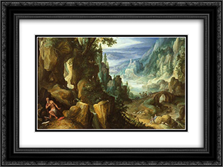 Landscape with St. Jerome and rocky crag 24x18 Black or Gold Ornate Framed and Double Matted Art Print by Paul Bril