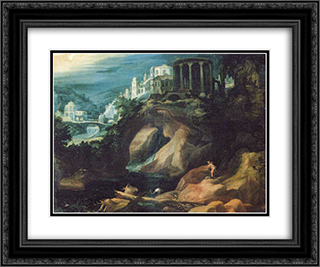 Landschaft mit Sibyllentempel 24x20 Black or Gold Ornate Framed and Double Matted Art Print by Paul Bril