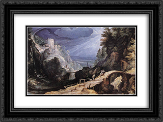 Mountain Scene 24x18 Black or Gold Ornate Framed and Double Matted Art Print by Paul Bril