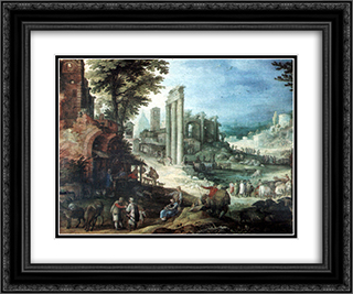 Romische Ruinenlandschaft 24x20 Black or Gold Ornate Framed and Double Matted Art Print by Paul Bril