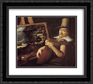 Self-Portrait 22x20 Black or Gold Ornate Framed and Double Matted Art Print by Paul Bril