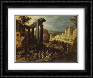 The Campo Vaccino with a Gypsy Woman Reading a Palm 24x20 Black or Gold Ornate Framed and Double Matted Art Print by Paul Bril