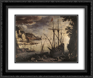 The Port 24x20 Black or Gold Ornate Framed and Double Matted Art Print by Paul Bril