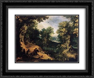 The Stag Hunt 24x20 Black or Gold Ornate Framed and Double Matted Art Print by Paul Bril