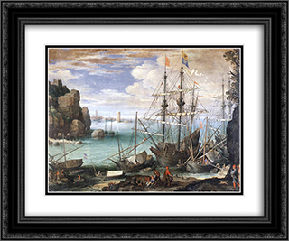 View of a Port 24x20 Black or Gold Ornate Framed and Double Matted Art Print by Paul Bril