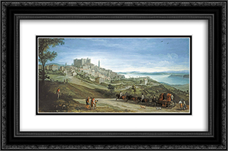 View of Bracciano 24x16 Black or Gold Ornate Framed and Double Matted Art Print by Paul Bril