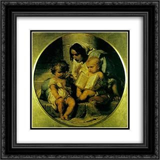 A Child Learning to Read 20x20 Black or Gold Ornate Framed and Double Matted Art Print by Paul Delaroche