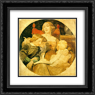 A Family Scene 20x20 Black or Gold Ornate Framed and Double Matted Art Print by Paul Delaroche