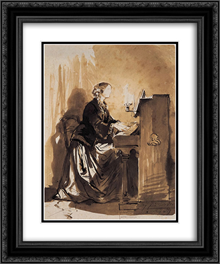 Countess Potocka Playing Piano 20x24 Black or Gold Ornate Framed and Double Matted Art Print by Paul Delaroche