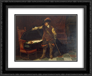 Cromwell before the Coffin of Charles I 24x20 Black or Gold Ornate Framed and Double Matted Art Print by Paul Delaroche