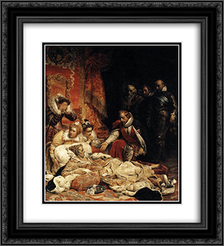 Death of Elizabeth I, Queen of England 20x22 Black or Gold Ornate Framed and Double Matted Art Print by Paul Delaroche