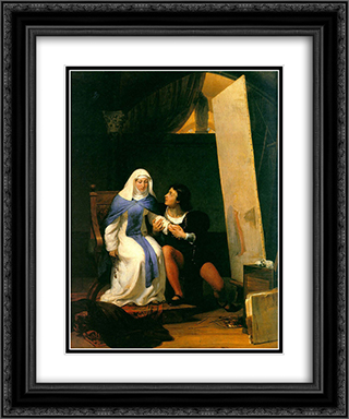 Fra Filippo Lippi Falling in Love with his Model 20x24 Black or Gold Ornate Framed and Double Matted Art Print by Paul Delaroche