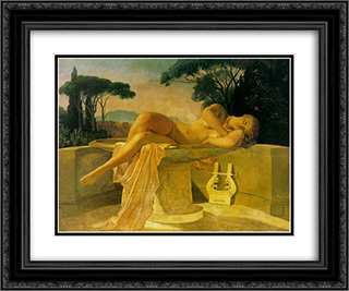 Girl in a Basin 24x20 Black or Gold Ornate Framed and Double Matted Art Print by Paul Delaroche
