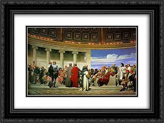 Hemicycle (Section 3) 24x18 Black or Gold Ornate Framed and Double Matted Art Print by Paul Delaroche