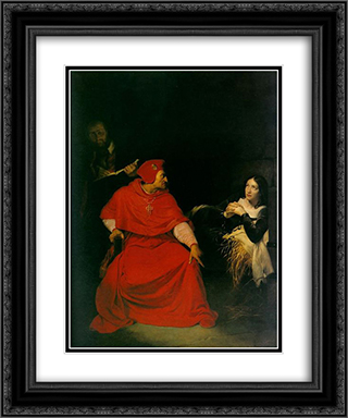 Joan d'arc being interrogated 20x24 Black or Gold Ornate Framed and Double Matted Art Print by Paul Delaroche