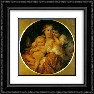 Mother and Child 20x20 Black or Gold Ornate Framed and Double Matted Art Print by Paul Delaroche