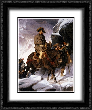 Napoleon crossing the Alps 20x24 Black or Gold Ornate Framed and Double Matted Art Print by Paul Delaroche