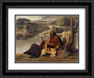 Resting on the Banks of the Tiber 24x20 Black or Gold Ornate Framed and Double Matted Art Print by Paul Delaroche