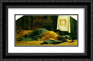 Saint Veronica 24x16 Black or Gold Ornate Framed and Double Matted Art Print by Paul Delaroche