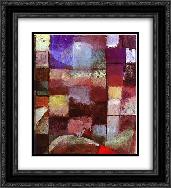 Hamamet 20x22 Black or Gold Ornate Framed and Double Matted Art Print by Paul Klee