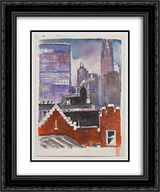 Untitled (cityscape) 20x24 Black or Gold Ornate Framed and Double Matted Art Print by Paul Thek
