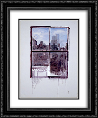 Untitled (cityscape with twin towers) 20x24 Black or Gold Ornate Framed and Double Matted Art Print by Paul Thek