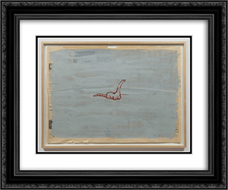 Untitled (Dinosaur) 24x20 Black or Gold Ornate Framed and Double Matted Art Print by Paul Thek