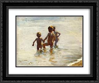 A Summer's Day at Skagen South Beach 24x20 Black or Gold Ornate Framed and Double Matted Art Print by Peder Severin Kroyer