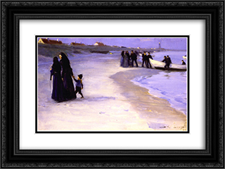 A White Boat at the Shoreline, Late Summer Evening 24x18 Black or Gold Ornate Framed and Double Matted Art Print by Peder Severin Kroyer
