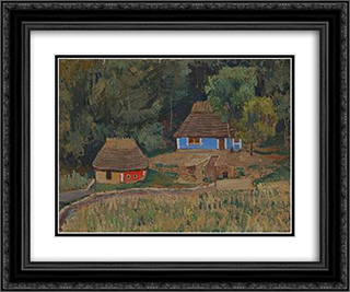 Khutir (Hamlet) In The Wood 24x20 Black or Gold Ornate Framed and Double Matted Art Print by Petro Kholodny (Elder)