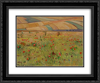 Poppies 24x20 Black or Gold Ornate Framed and Double Matted Art Print by Petro Kholodny (Elder)