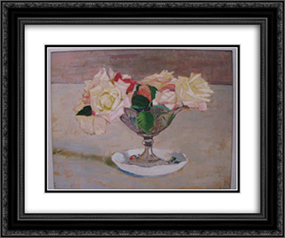 Still Life 24x20 Black or Gold Ornate Framed and Double Matted Art Print by Petro Kholodny (Elder)