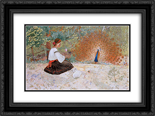 Tale of a Girl and a Peacock 24x18 Black or Gold Ornate Framed and Double Matted Art Print by Petro Kholodny (Elder)