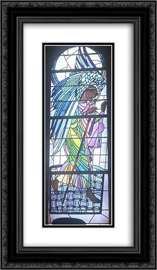 Walking Angel from the triptych The Annunciation 14x24 Black or Gold Ornate Framed and Double Matted Art Print by Petro Kholodny (Elder)