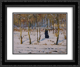 Winter in the Forest (sketch) 24x20 Black or Gold Ornate Framed and Double Matted Art Print by Petro Kholodny (Elder)