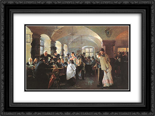 In the brewery in Munich 24x18 Black or Gold Ornate Framed and Double Matted Art Print by Philip de Laszlo