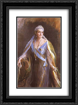Queen Marie of Romania 18x24 Black or Gold Ornate Framed and Double Matted Art Print by Philip de Laszlo