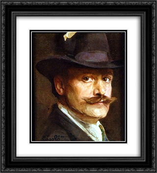 Self-Portrait 20x22 Black or Gold Ornate Framed and Double Matted Art Print by Philip de Laszlo