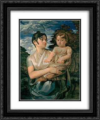 Pauline Runge with her two-year-old-son 20x24 Black or Gold Ornate Framed and Double Matted Art Print by Philipp Otto Runge