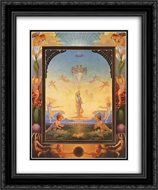 The Morning 20x24 Black or Gold Ornate Framed and Double Matted Art Print by Philipp Otto Runge