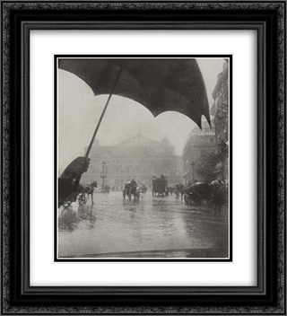 Opera, Rainy Day 20x22 Black or Gold Ornate Framed and Double Matted Art Print by Pierre Dubreuil