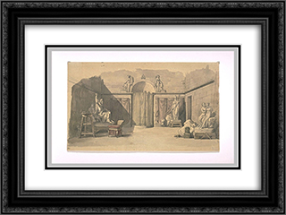 A sculpture workshop 24x18 Black or Gold Ornate Framed and Double Matted Art Print by Pierre Narcisse Guerin