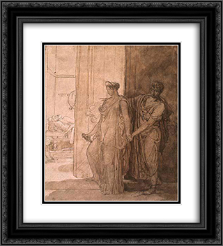 Clytemnestra hesitates before killing the-sleeping agamemnon 20x22 Black or Gold Ornate Framed and Double Matted Art Print by Pierre Narcisse Guerin