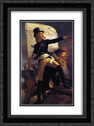 Henri de La Rochejaquelein , leader of the revolt in the Vendee 18x24 Black or Gold Ornate Framed and Double Matted Art Print by Pierre Narcisse Guerin