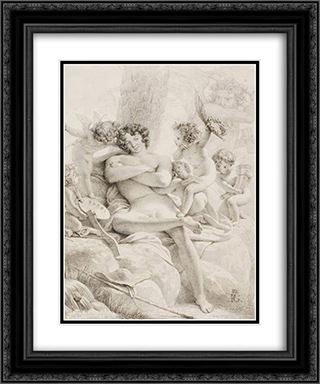 Idler 20x24 Black or Gold Ornate Framed and Double Matted Art Print by Pierre Narcisse Guerin