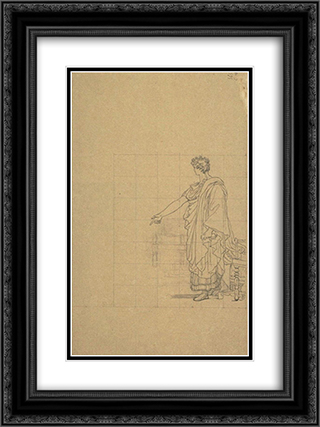 Man draped in antique, standing next to a seat 18x24 Black or Gold Ornate Framed and Double Matted Art Print by Pierre Narcisse Guerin